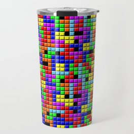 Tetris Inspired Retro Gaming Colourful Squares Travel Mug
