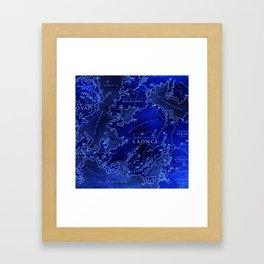 map blue Framed Art Print