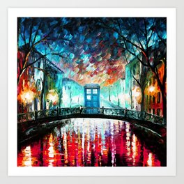 Tardis With Beautiful Starry Night Art Print