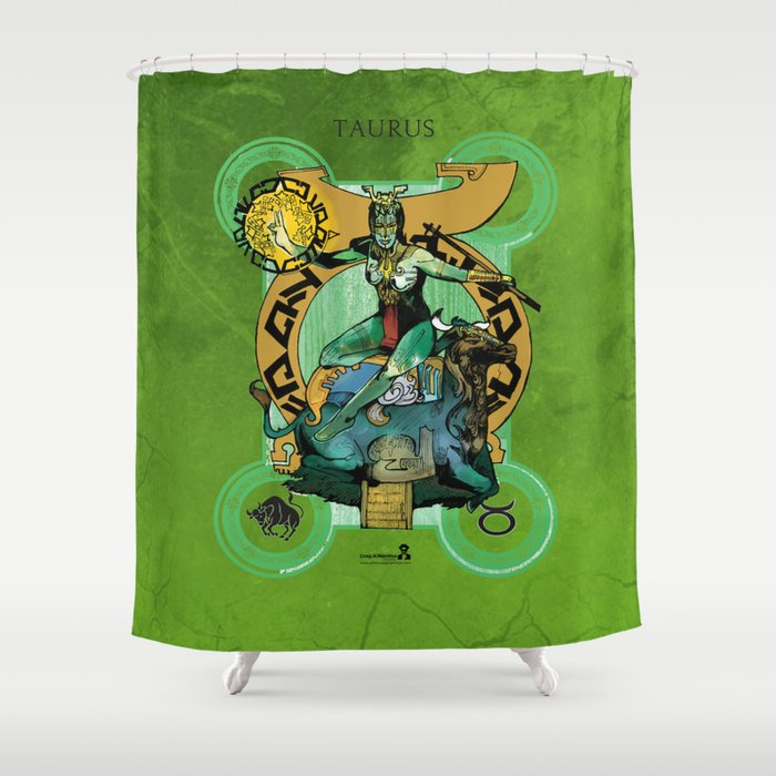 "Ars Tarot of the 12 Zodiac: ""Taurus - The Hierophant"" Shower Curtain"