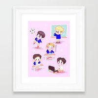shinee Framed Art Prints featuring school shinee by sophillustration
