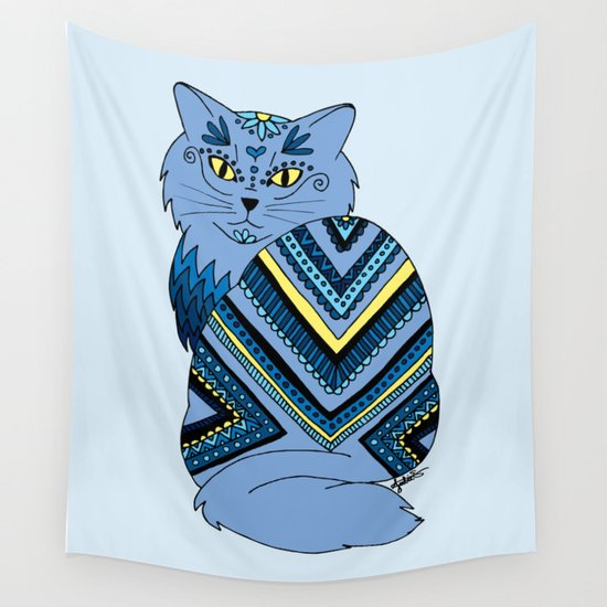 zentangle blue kitty cat drawing art wall tapestry home decor