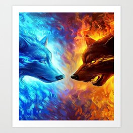 Wolf Light and Dark Art Print