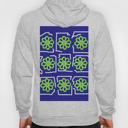 Abstract Green Blossoms on Blue Hoody