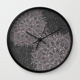 Elegant faux black blush pink glitter floral mandala Wall Clock
