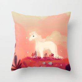 White Horse on the Pink Prairie Throw Pillow