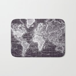 Vintage Map of The World (1833) Purple & White  Bath Mat