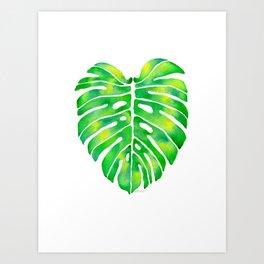 Green Monstera Leaf Watercolor Art Print