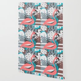 Flamingo, pineapples, flowers Wallpaper