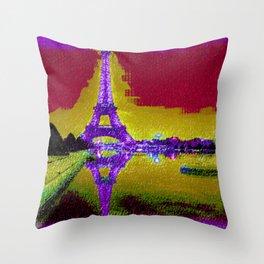 Eiffel Tower in Paris at Night   Saletta Home Decor Throw Pillow
