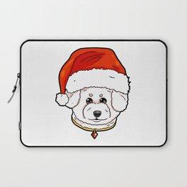 Bichon Frise Dog Christmas Hat Present Laptop Sleeve