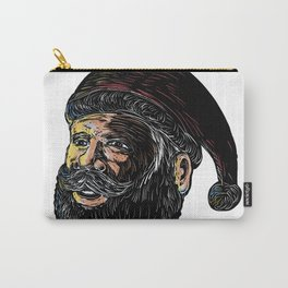 Santa Claus Three-Quarter View Scratchboard Carry-All Pouch