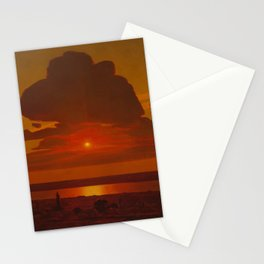 Red Coastal Beach Sunset landscape painting Stationery Cards