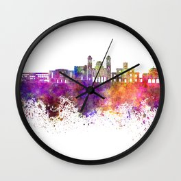 Limassol skyline in watercolor background Wall Clock