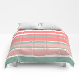 Festive, Abstract, Colorful Stripes, Coral and Green Comforters