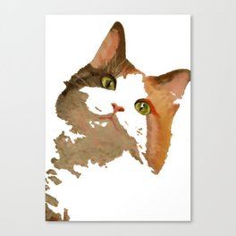 I'm All Ears - Cute Calico Cat Portrait Canvas Print