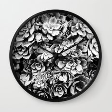 Black And White Plants Wall Clock