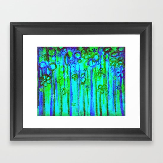 WINTER GARDEN -Bright Blue Green Neon Snowflake Floral Abstract Watercolor Painting and Digital Art Framed Art Print