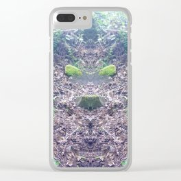 """Faeries and Trolls Welcome"". a split tree stump Clear iPhone Case"