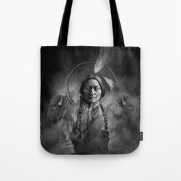 Black and white portrait-Sitting bull Tote Bag
