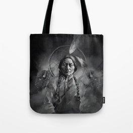 Black and white portrait-Sitting bull Tote Bag