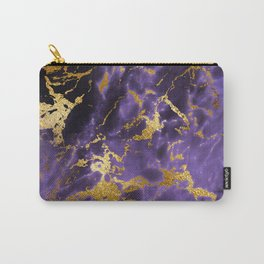 Ultra Violet Gold Marble Metallic Foil Carry-All Pouch