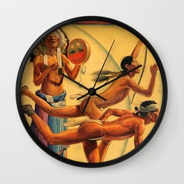 1932 Olympic Games - Los Angeles, CA - Native American - Santa Fe Railroad Vintage Poster Wall Clock