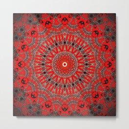 Rich Red Vintage Mandala Metal Print
