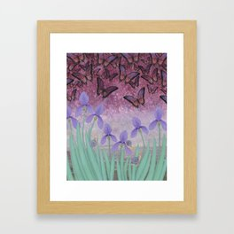 butterflies dance in purple skies above irises Framed Art Print