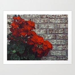 Red bricks red flowers Art Print