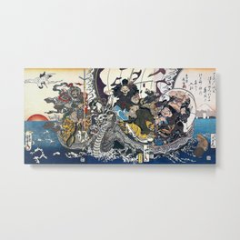 """ Seven Lucky Gods "" by(Utagawa Kuniyoshi + Keisai Eisen + Utagawa Kunisada) Metal Print"
