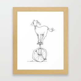 Goat on a unicycle Framed Art Print