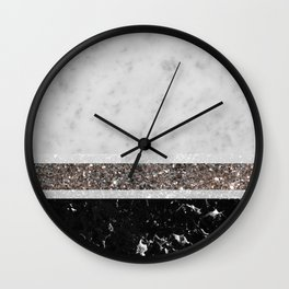 White and Black Marble Silver Glitter Stripe Glam #1 #minimal #decor #art #society6 Wall Clock