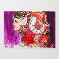 beauty and the beast Canvas Prints featuring Beauty + Beast by Bianca Neill