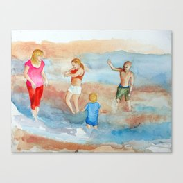 Family At The Beach Canvas Print