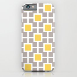 Classic Hollywood Regency Pattern 221 Gray and Yellow iPhone Case