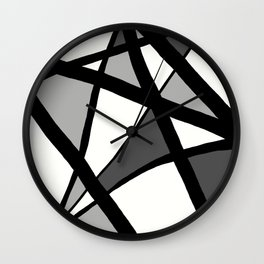 Geometric Line Abstract - Black Gray White Wall Clock