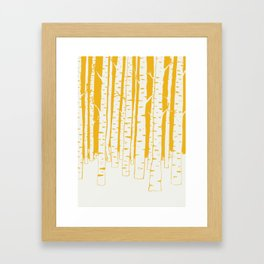 Birch forest in yellow Framed Art Print