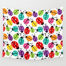 Lots of Crayon Colored Ladybugs Wall Tapestry