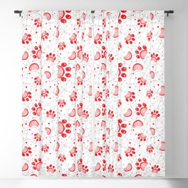 Paw print seamless pattern  in red color Blackout Curtain