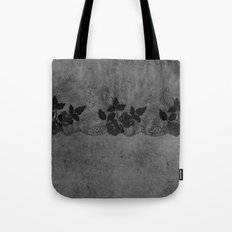 Pure elegance- Black floral luxury lace on dark grunge backround Tote Bag