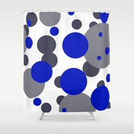 Bubbles blue grey- white design Shower Curtain