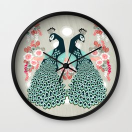 Peacocks by Andrea Lauren  Wall Clock
