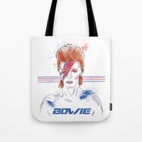 bowie Tote Bags featuring Bowie by Usagi Por Moi