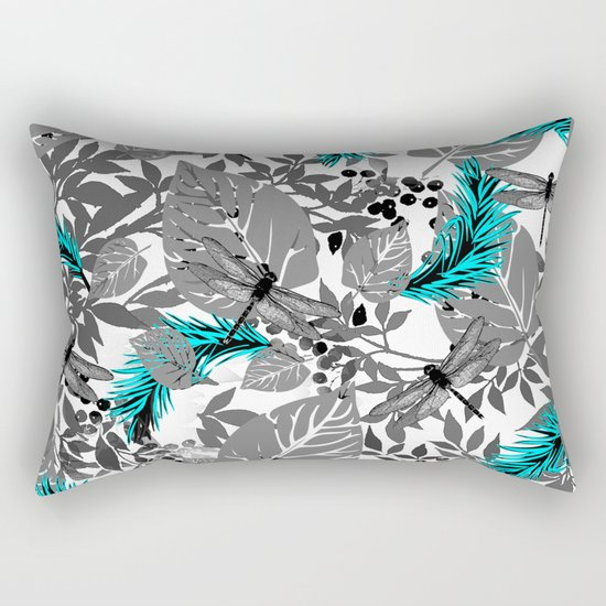 PALM LEAF DRAGONFLY BLUE Rectangular Pillow