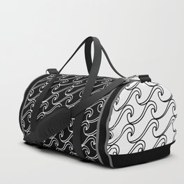Rough Sea Pattern - black on white Duffle Bag