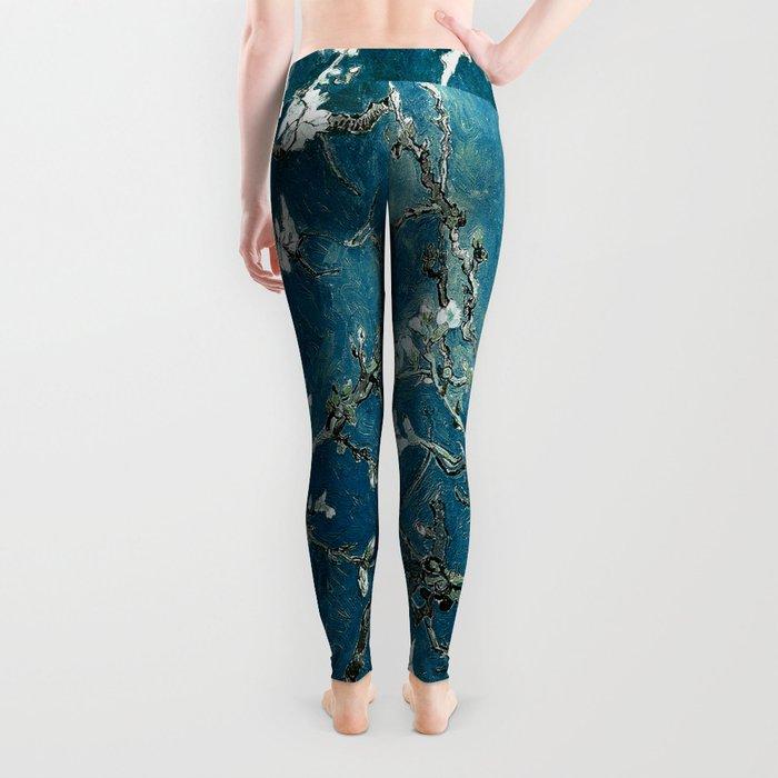Van Gogh Almond Blossoms : Dark Teal Leggings
