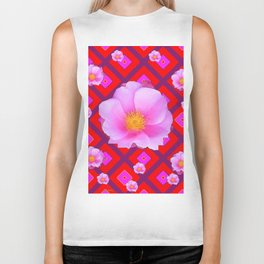 Red Pattern Wild Pink Roses & Pink Roses Abstract Biker Tank