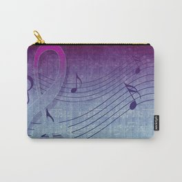Aqua Purple Ombre Music Notes Carry-All Pouch