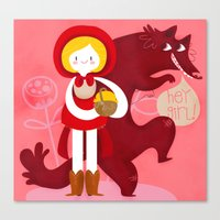 red riding hood Canvas Prints featuring Red Riding Hood by genie espinosa